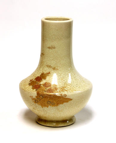 A Satsuma crackle glazed pottery stick neck vase