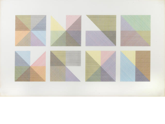 Sol Lewitt, Eight squares with a different color in each half square, 1982, Screenprint
