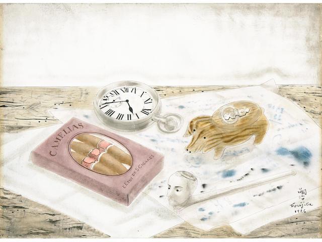 Léonard Tsuguharu Foujita (Japanese/French, 1886-1968), AUTHENTICATING Still life, 1926  9 1/2 x 13in (24.1 x 33cm)