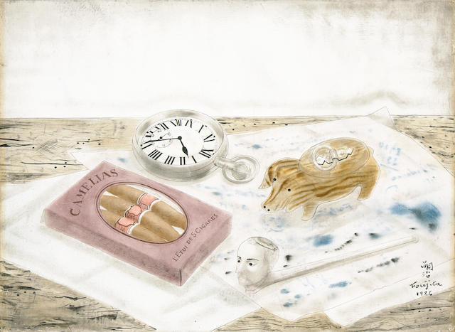 Léonard Tsuguharu Foujita (Japanese/French, 1886-1968), AUTHENTICATING Still life, 1926  9 1/2 x 13in (24.1 x 33cm)