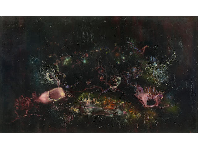 Enrico Donati (Italian/American, 1909-2008) Le crépuscole et la cité 26 x 44in (66 x 111.8cm)