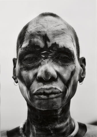 Sebastião Salgado (Brazilian, born 1944); Dinka Man at Cattle Camp of Kei, Southern Sudan;