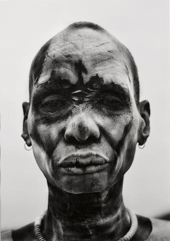 Sebastião Salgado (Brazilian, born 1944); Dinka Man at Cattle Camp of Kei, Southern Sudan;