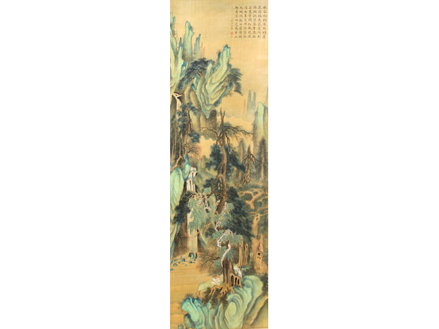 Anonymous (China, late Qing/Republic period) A pair of blue and green landscape paintings