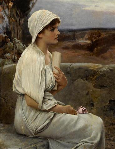 Alfred Seifert (Czech, 1850-1901) Hypatia 19 3/4 x 15 1/2in (50.2 x 39.4cm)