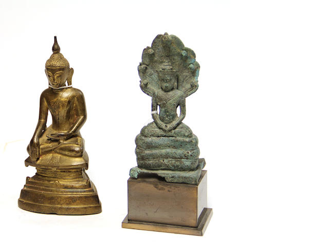 Two bronze seated Buddhas