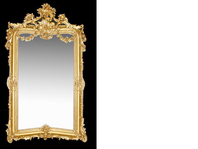 An imposing Louis XV style giltwood mirror