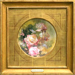 Franz Arthur Bischoff, Roses on a porcelain plaque