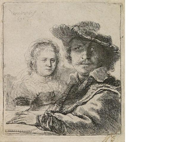 Rembrandt Harmensz van Rijn (Dutch, 1606-1669); Self Portrait with Saskia;