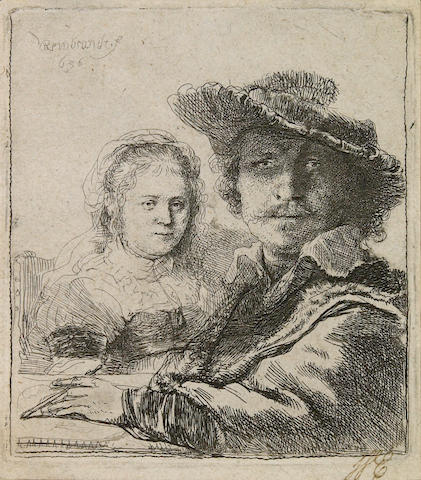 Rembrandt Harmensz van Rijn (Dutch, 1606-1669); Self Portrait with Saskia;