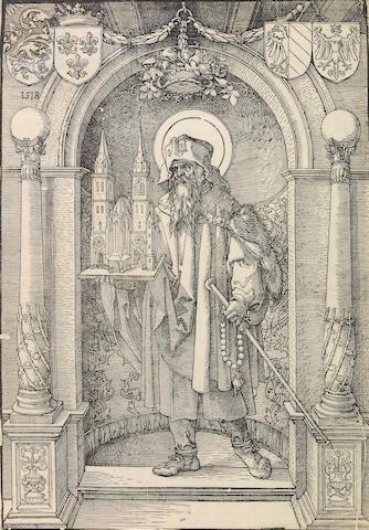 Albrecht Dürer (German, 1471-1528); Saint Sebald in a Niche;