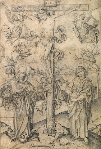 Martin Schongauer (German, 1445-1491); The Crucifixion with Four Angels;