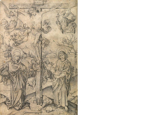 Martin Schongauer (Colmar 1430-1491 Breisach); The Crucifixion with Four Angels;