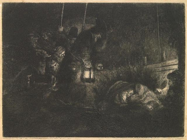 Rembrandt Harmensz van Rijn (Dutch, 1606-1669); The Adoration of the Shepherds: A Night Piece;