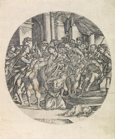 Domenico Campagnola Beheading of St. Catherine, roundel 1517 B. 7 Engraving
