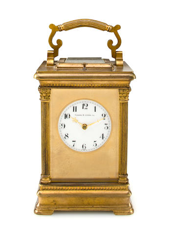 A gilt grande sonnerie carriage clockSigned Ch. Hour, no. 18653, retailed by Theodore B. Starr, New York, circa 1900