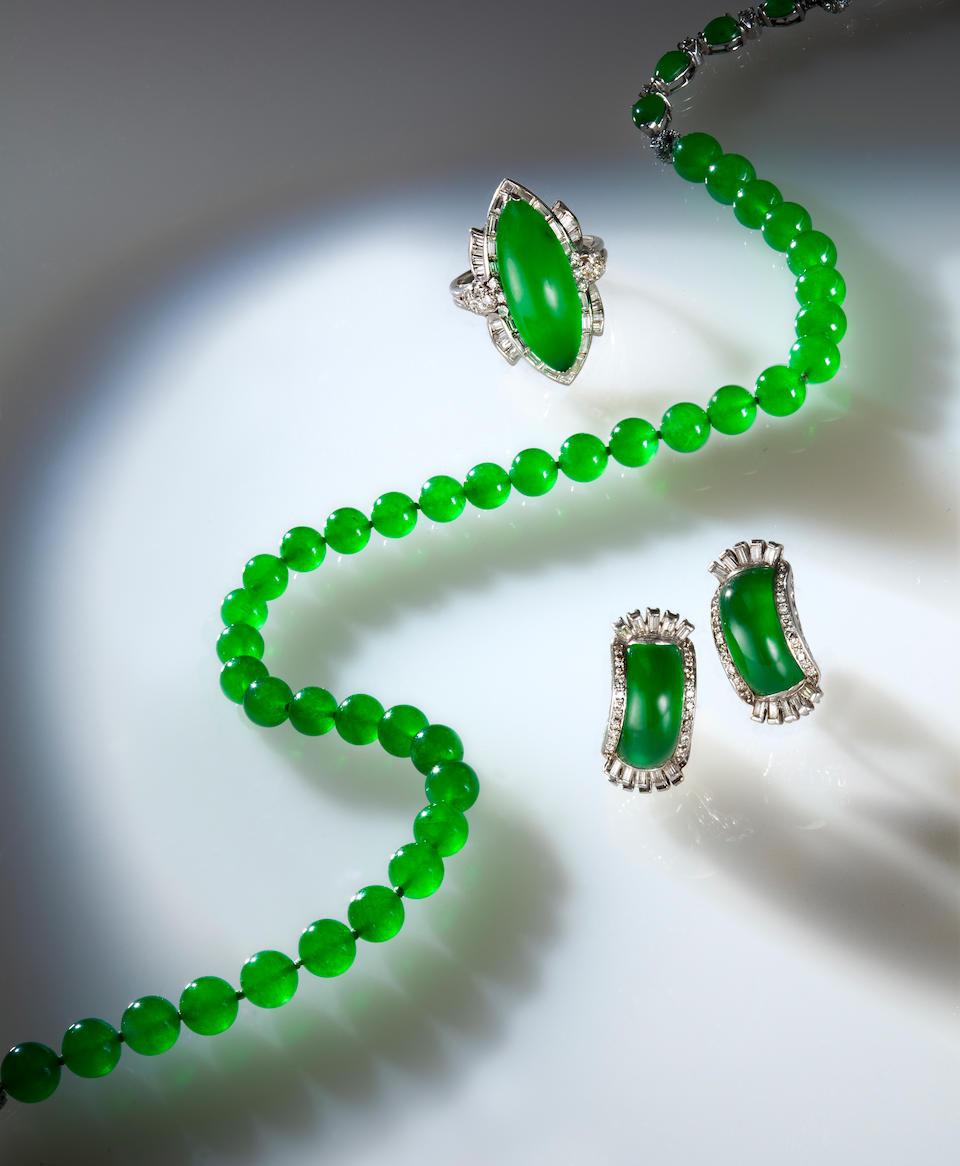 A jadeite jade and diamond necklace, Marsh