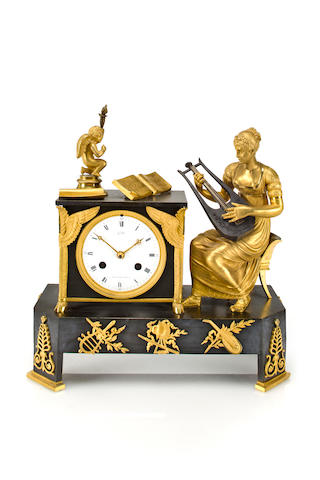 An Empire ormolu and patinated bronze allegorical mantel clock The dial signed Gallé, Rue Vivienne à Paris, circa 1810