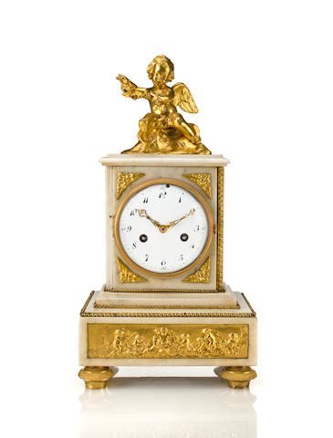 Louis XVI style ormolu and marble mantel clock<BR />first quarter 19th century