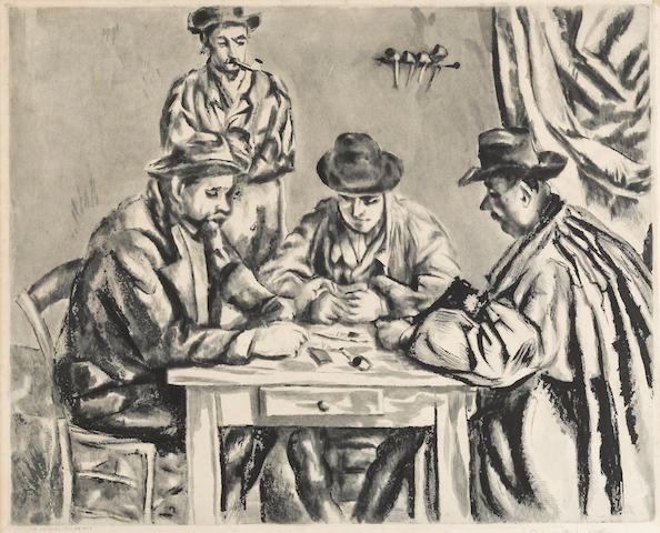 After Paul Cézanne (French, 1839-1906); by Jacques Villon Les Joueurs de cartes;