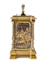 A fine and rare brass and mixed metal repeating carriage clock decorated with scenes from ShakespeareThe movement stamped AB within a star, no. 309, last quarter 19th century