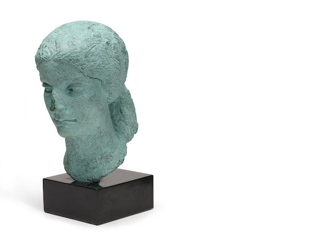 Dora Gordine (British, 1906-1991) Head of a Woman 11 1/2 x 6 x 9in<br>height with base 14in