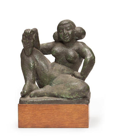 Dora Gordine (British, 1906-1991) Seated Nude Goddess 6 x 5 1/4 x 4 3/4in height with base 7 3/4in