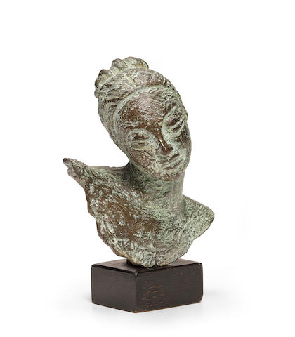 Dora Gordine (British, 1906-1991) Woman with Tilted Head 4 1/2 x 3 1/2 x 3in height with base 5 1/4in