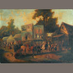 Circle of Jean Duplessis-Bertaux (Paris 1747-circa 1820) La foire de village 19 x 25 1/2in (48.2 x 64.7cm) unframed