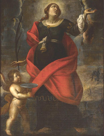 Circle of Alessandro Tiarini (Bologna 1577-1668) A female saint in supplication 50 x 38in (127 x 96.5cm)