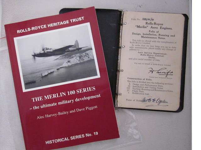 An original Rolls-Royce Merlin engine handbook.