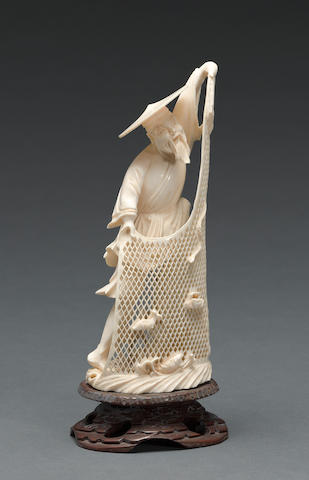 A Chinese ivory fisherman with pierce-carved net