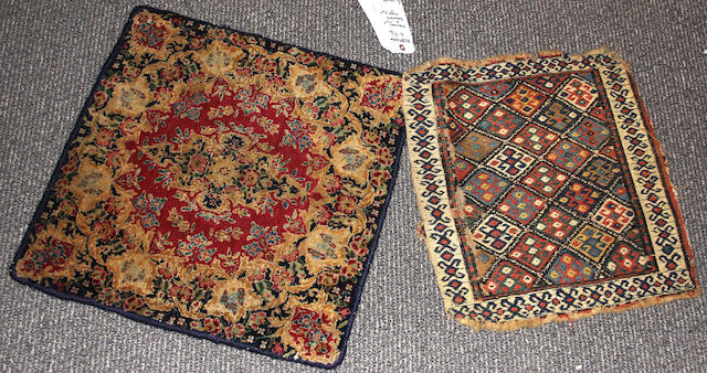 A Pair: One Kerman rug and one Soumak rug size approximately 1ft. 9in. x 1ft. 9in. and 1ft. 6in. x 1ft. 6in.
