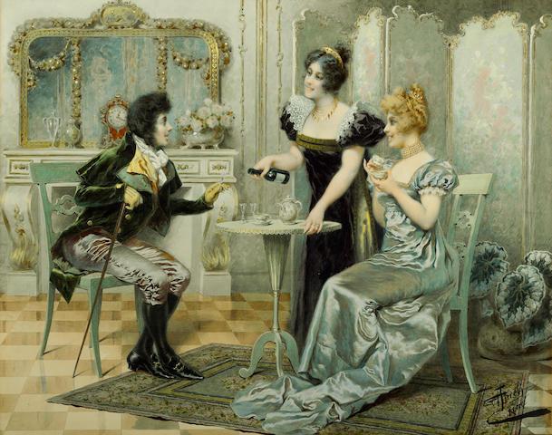 Giuseppe Aureli (Italian, 1858-1929) The welcome visitor 17 1/2 x 22in (44.4 x 55.9cm)