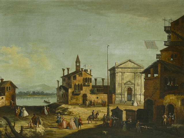 Attributed to Francesco Albotto (Venice 1721-1758) A Venetian veduta with strolling figures 29 x 38 1/4in (73.7 x 97.2cm)