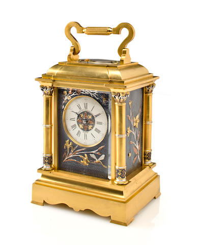 A fine and rare gilt brass and mixed metal grande sonnerie quarter repeating carriage clockRetailed by Bigelow Kennard Co., Boston, no. 1026, last quarter 19th century