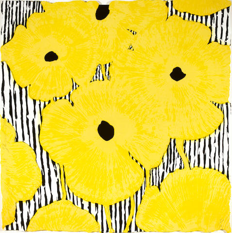 Donald Sultan (American, born 1951); Yellow Flowers on a Striped Ground, March 07;