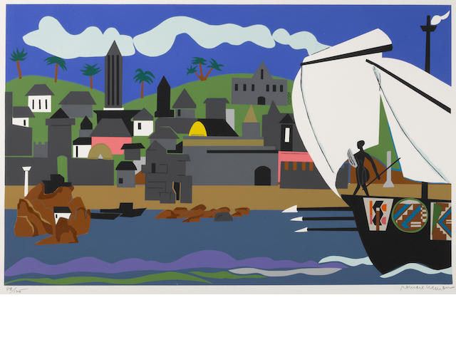 Romare Bearden (American, 1914-1988); Home to Ithaca, from The Odysseus Suite;