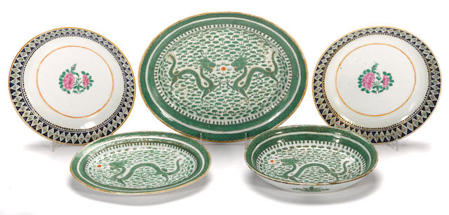 A group of five Chinese export enameled porcelain decorative articles