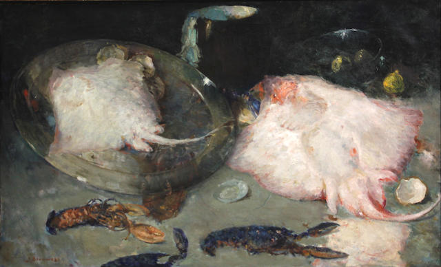 Jules Brouwers (Dutch, 1869-1955) A still life with skates and lobster 29 3/4 x 49 1/2in