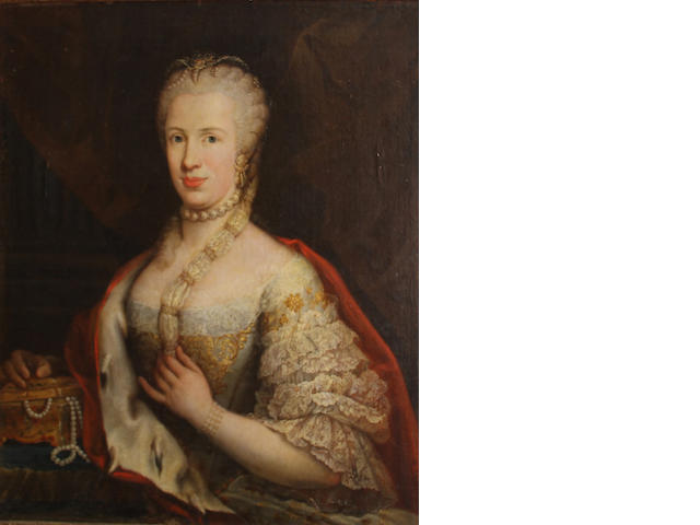 Artist Unknown (appears 18th C.), Portrait of a lady seated with her right arm resting on a jeweled chest, o/c, 31 x 27in (possibly cut down at a later date)