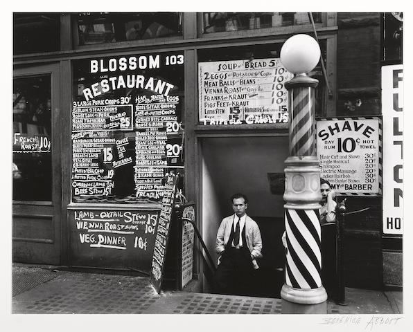 Berenice Abbott (American, 1898-1991); Blossom Restaurant, 103 Bowery, New York;