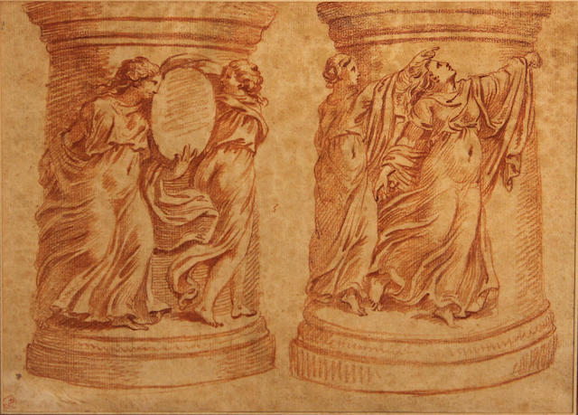 circle of Edme Bouchardon, studies of pedestals, matted and framed
