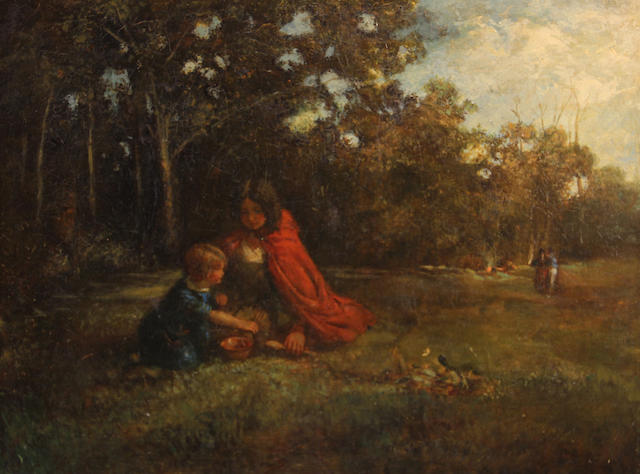 French School, 19th Century A wooded landscape with two children in the foreground 16 1/4 x 21in