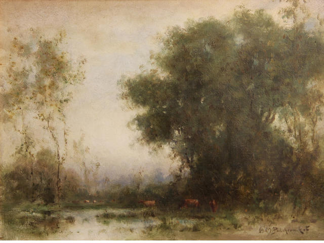 Alexis Matthew Podchernikoff (Russian/American, 1886-1933) Cattle watering under trees 10 x 13in