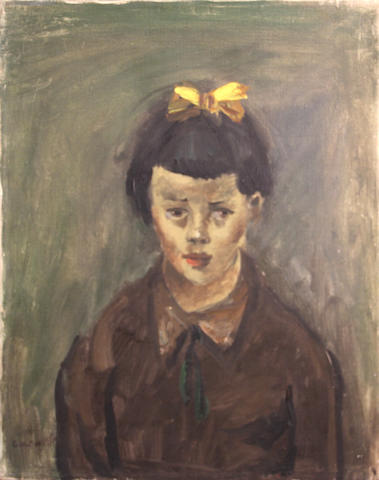 George Chann (Chinese/American, 1913-1995) Girl with a yellow bow 20 x 16in