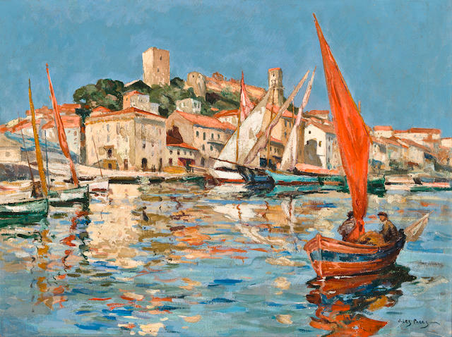 Jules Eugène Pages (American, 1867-1946) The old port of Cannes 18 x 24in