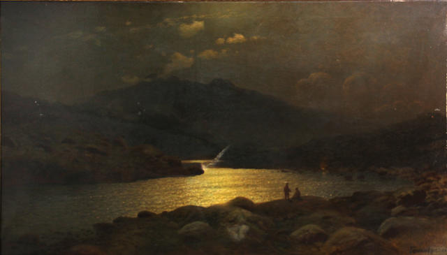 Georgiy Zakharovich Bashinzhagyan (1857-1925) A moonlit lake surrounded by mountains with two figures in the foreground  34 3/4 x 60in