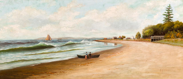 Albert Horatio Slade (American, 1843-1922) Beach at Ventura, California 18 x 40in