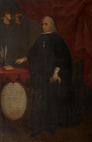 Spanish School, 18th Century A portrait of Don Luis Manuél Fernandez de Madrid, full-length, standing beside his desk 81 1/2 x 53in (207 x 134.7cm) unframed